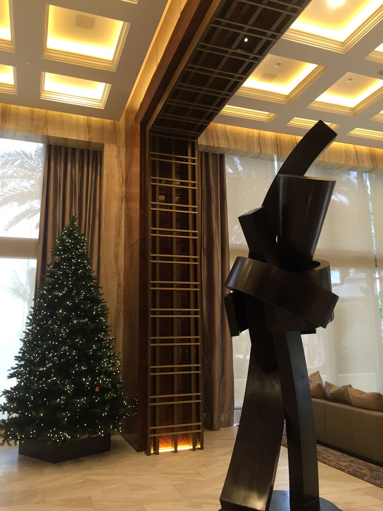 photo of an iron sculpture in a lobby