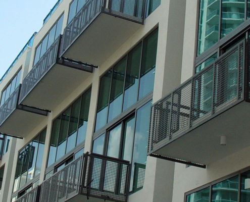 cropped photo of metal balcony rails