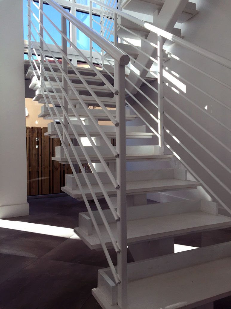 photo of a modern metal staircase