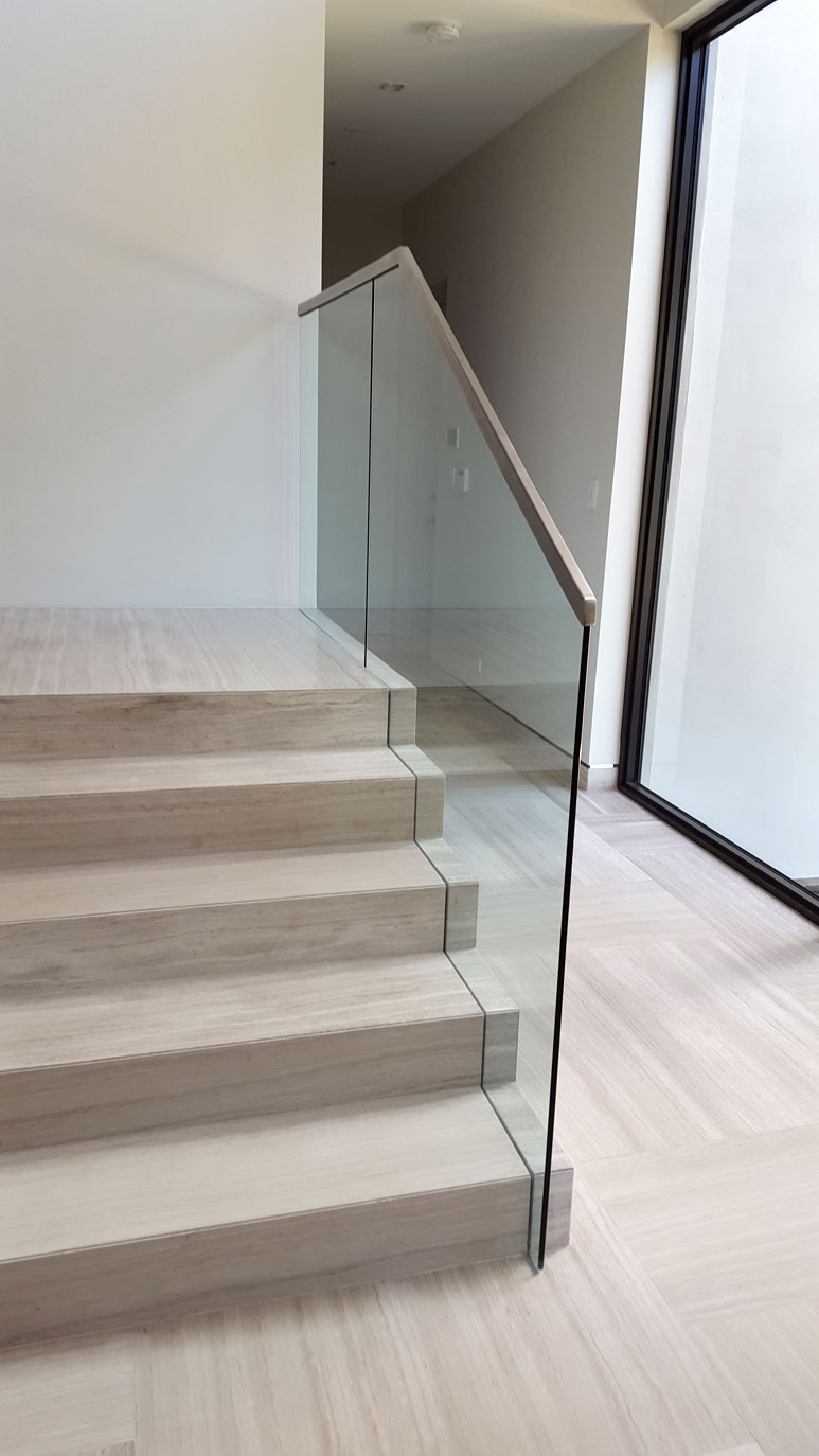 photo of a modern glass railing