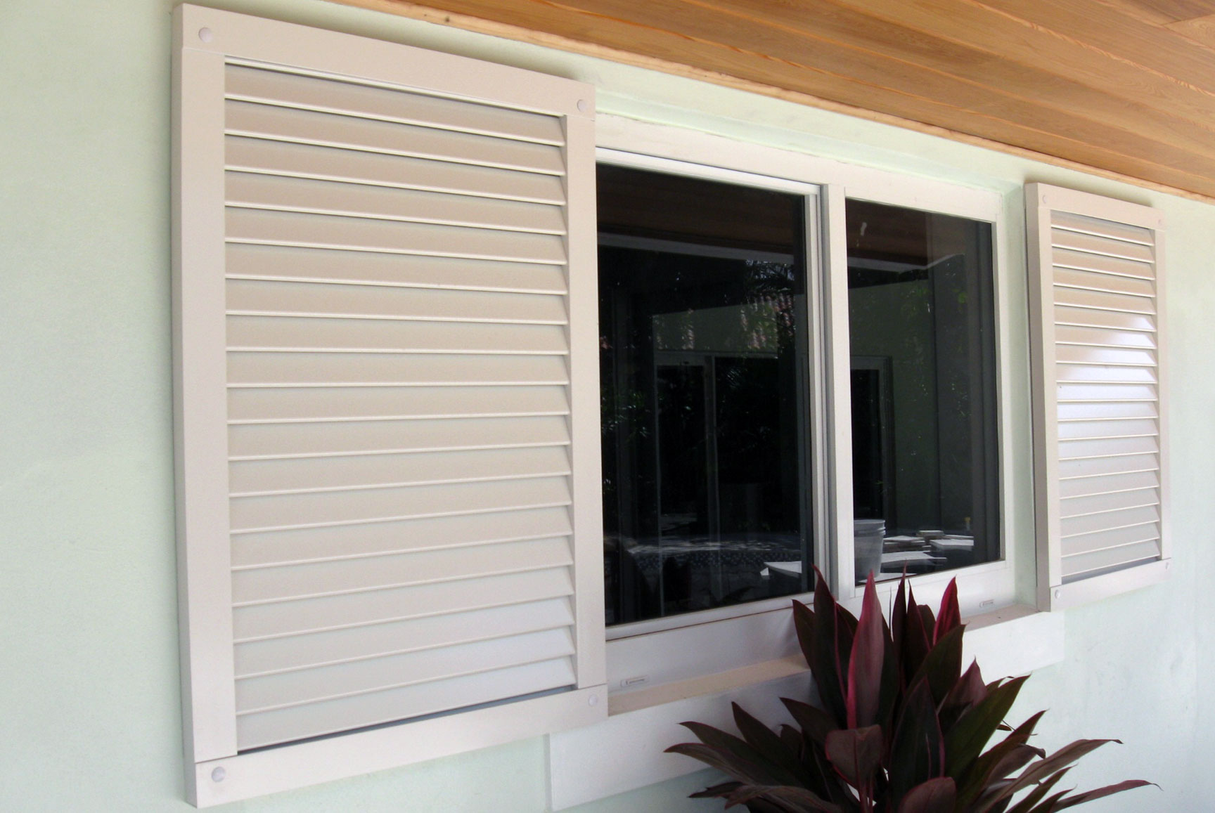photo of a residential metal shutters